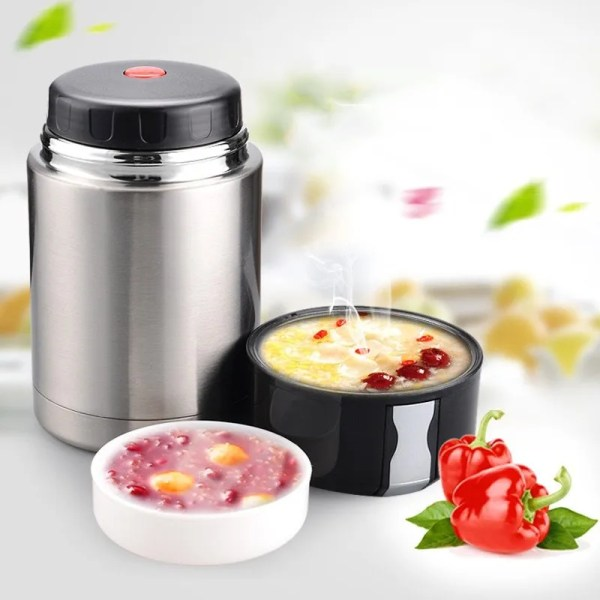 Large Capacity 600ML/800ML/1000ML Thermos Lunch Boxes Portable Stainless Steel 1