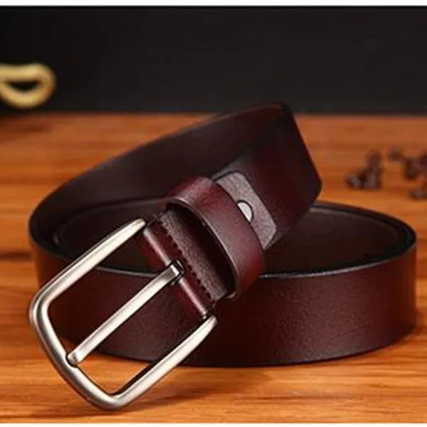 Men's Genuine Leather Fashion Belt with Pin Buckle 9