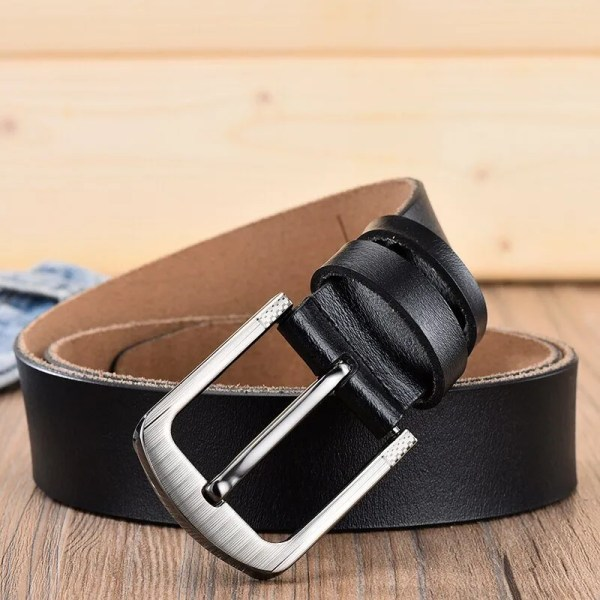 Men's Genuine Leather Fashion Belt with Pin Buckle 3