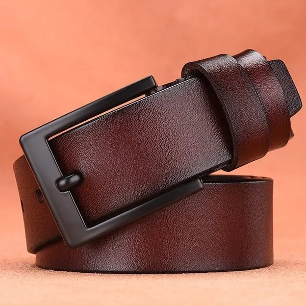 Men's Genuine Cow Leather Luxury Strap Belt with Pin Buckle 11