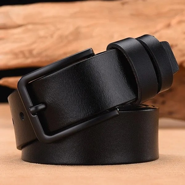 Men's Genuine Cow Leather Luxury Strap Belt with Pin Buckle 7
