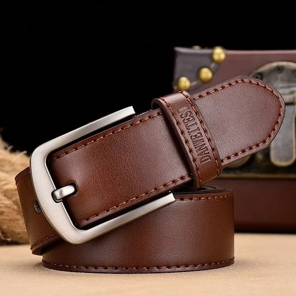 Men's Genuine Leather Belt with Luxury Pin Buckle 11
