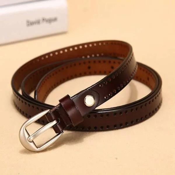 New Pin Buckle Women Fashion Genuine Leather Belt 10
