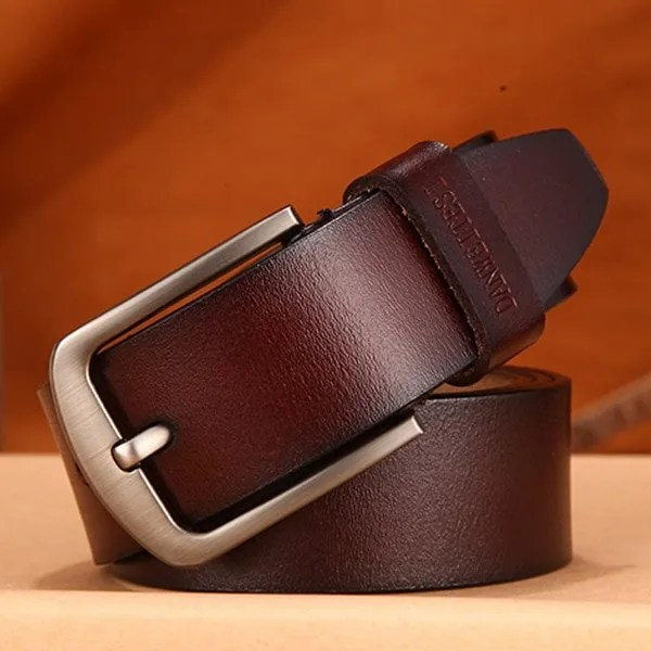 Men's Genuine Cow Leather Luxury Strap Belt with Pin Buckle 9