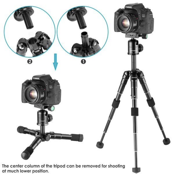 Portable 20 inches Compact Macro Mini Tripod with 360 Degree Ball Head 5