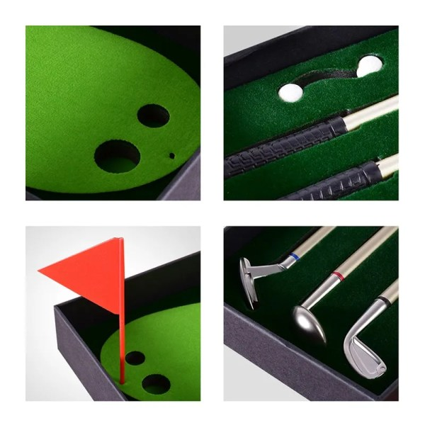 Golf Pen Set Desktop Goft Gift Mini Green Driving Range with Metal Golf Club Pens Balls and Flag