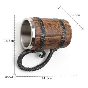 Stainless Steel Resin Beer Mug in Wooden Barrel