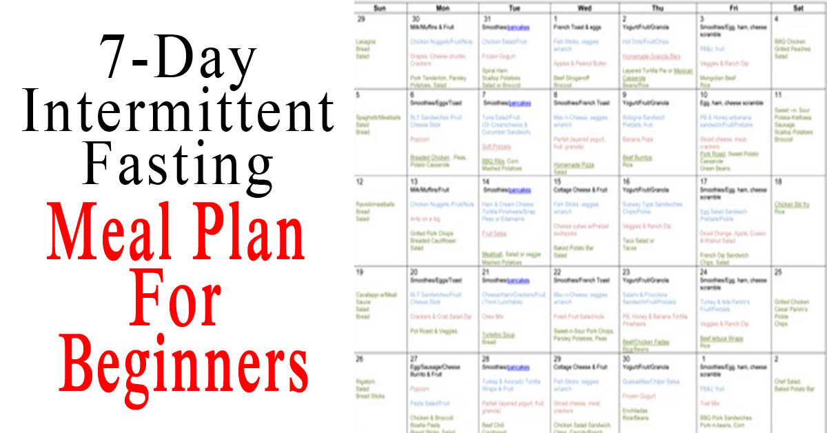 Done For You 7-Day Intermittent Fasting Meal Plan For Beginners