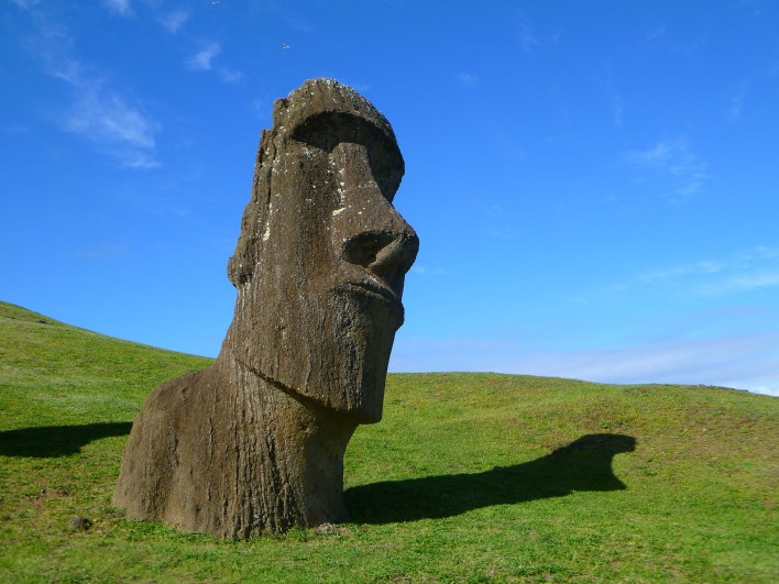 Moai monolithic carvings on Easter Island.