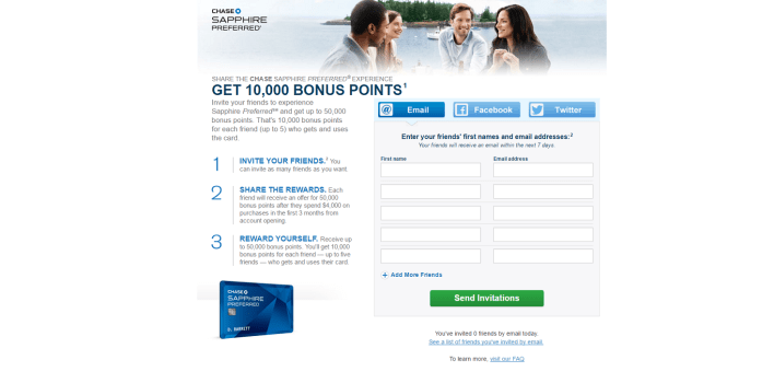 The Chase Sapphire Referral Page.