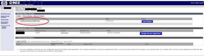 GOES System Conditional Approval Page Screen
