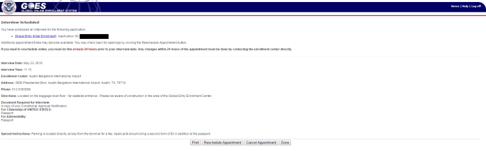 GOES System Interview Scheduled Page Screen 2