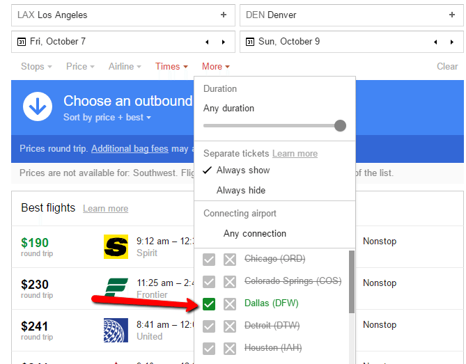 Google Flights Filter Results Connecting Airport