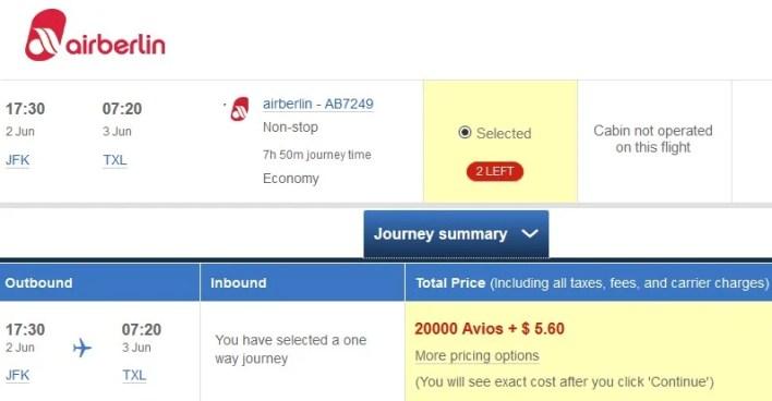 British Airways Avios airberlin New York to Berlin