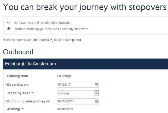 British Airways Avios Free Stopover