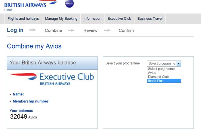 British Airways Combine My Points