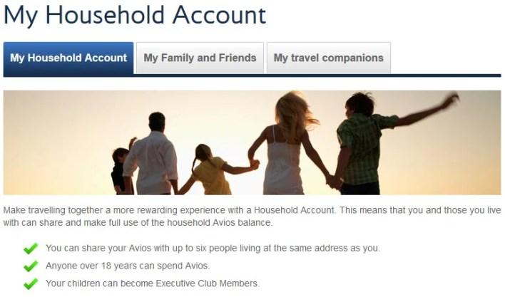 British Airways Executive Club Household Account