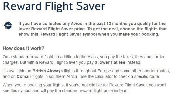 British Airways Reward Flight Saver