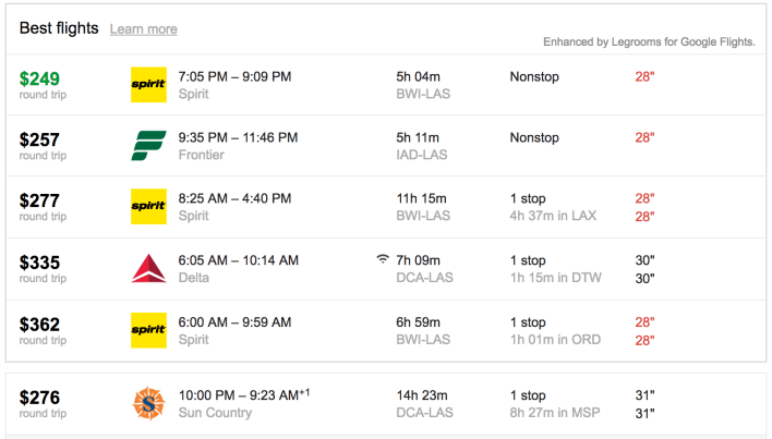 Legrooms for Google Flights