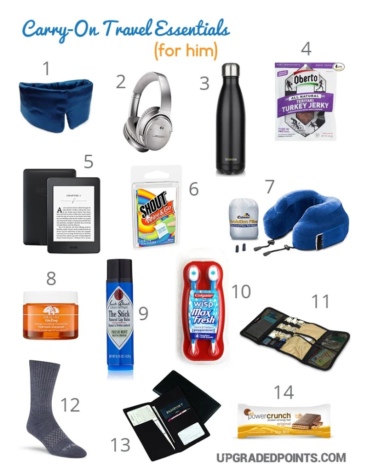 Carry-on Travel Essentials (For Him)