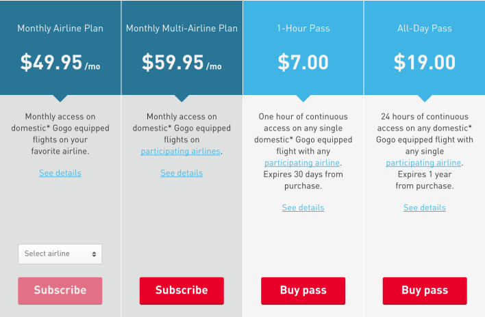 Gogo Subscription Plans