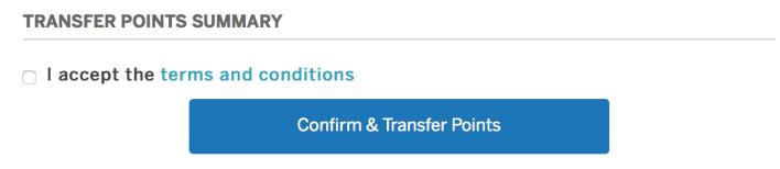 American Express Membership Rewards Transfer Confirm