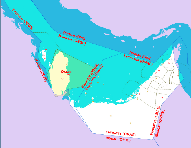 Map of Gulf Airspace Blocks