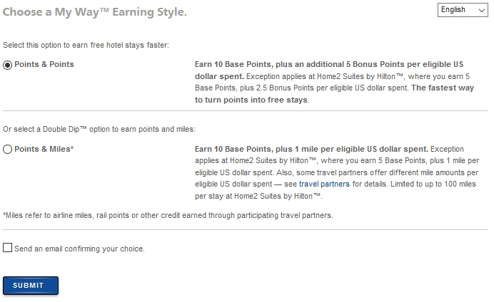 Hilton Choose MyWay Earning Style