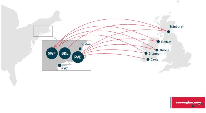 Norwegian Airlines Ireland Based U.S. Routes