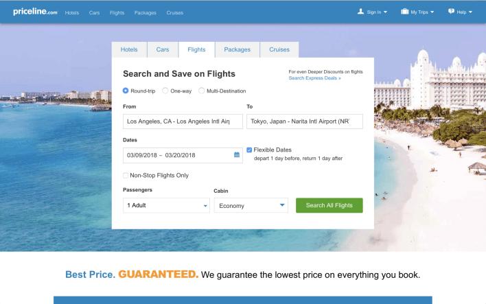 Priceline flight search screenshot