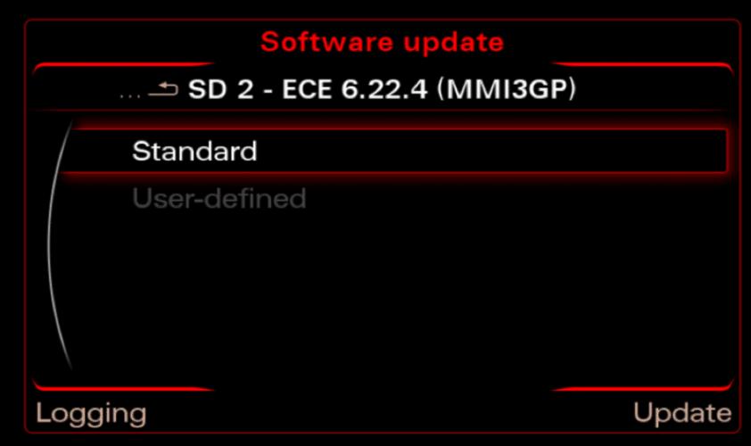MMI 3G maps update source selector