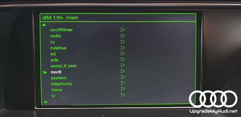 Hidden green menu > SWDL