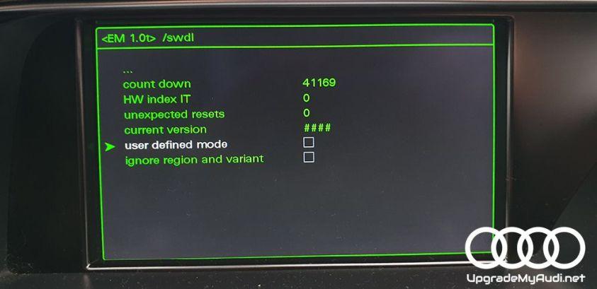 Hidden green menu > SWDL > user defined mode