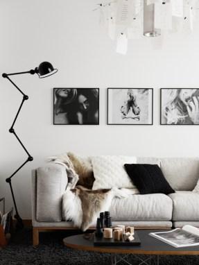 Floor lamps we love: Jielde lamp in black & white living room