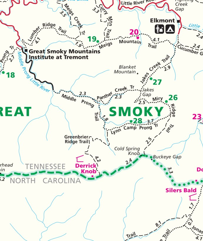The Route - Middle Prong to Panther Creek to Miry Ridge and return via Greenbrier Ridge Trail