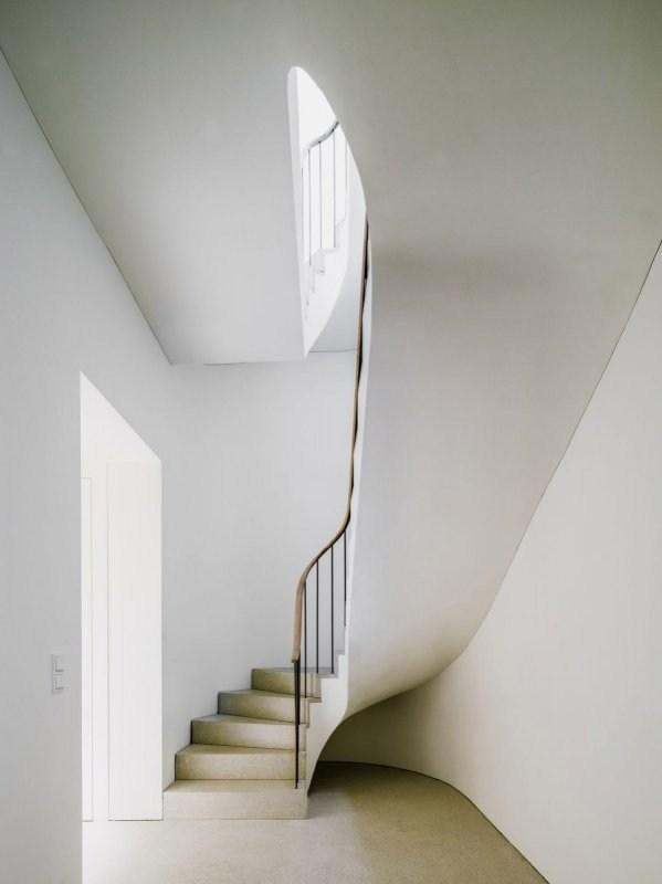 Concrete Stairs Up Interiors   Interior Concrete Stairs Design   Architecture   House   White Matte Concrete   Urban   Dark Wood Modern