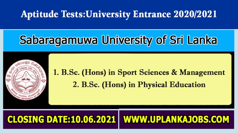 Sabaragamuwa University Aptitude Test 2021