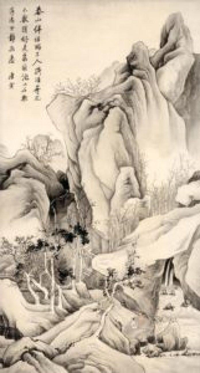 """唐寅另一体现""""春""""的纸本水墨作品《春山伴侣图》(故宫博物院))"""