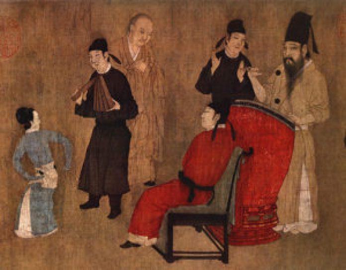 唐寅《临韩熙载夜宴图》(维基百科)