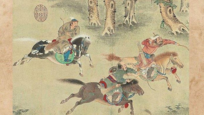 """""""吹萧不用竹,一箭贯当胸"""",隐喻了肃亲王一箭射死了张献忠。图为明 仇英《秋猎图卷》局部。(国立故宫博物院提供)"""