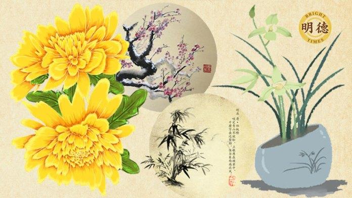花中四君子 :梅兰竹菊象征着高尚品格(明德合成)