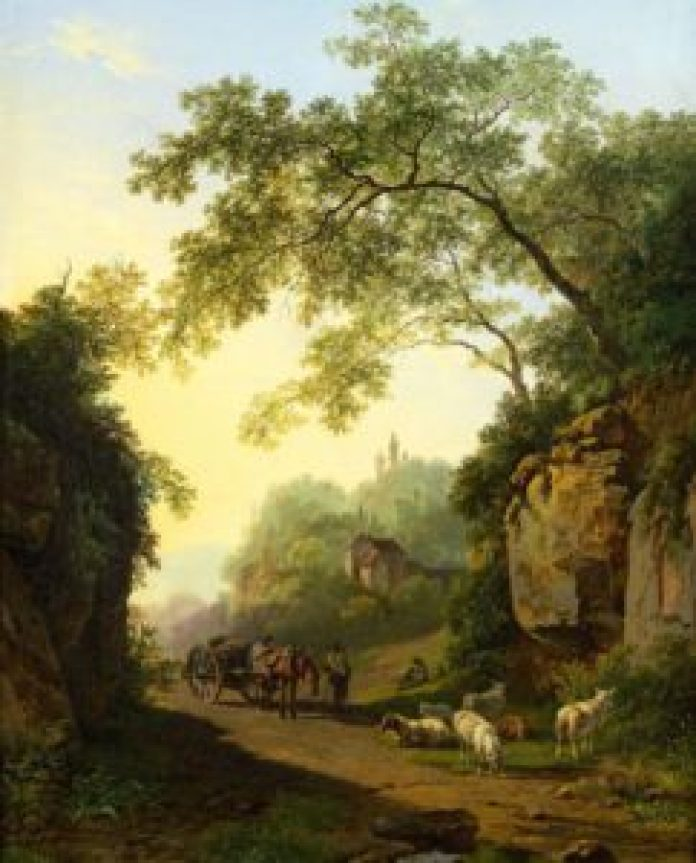 农村生活和家乡丹麦茂密森林的描绘(teylersmuseum.nl/pin)