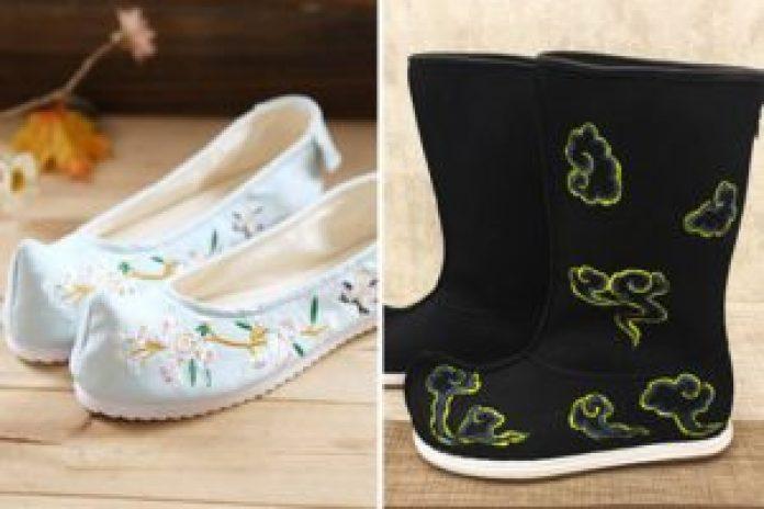 唐代绣花鞋靴