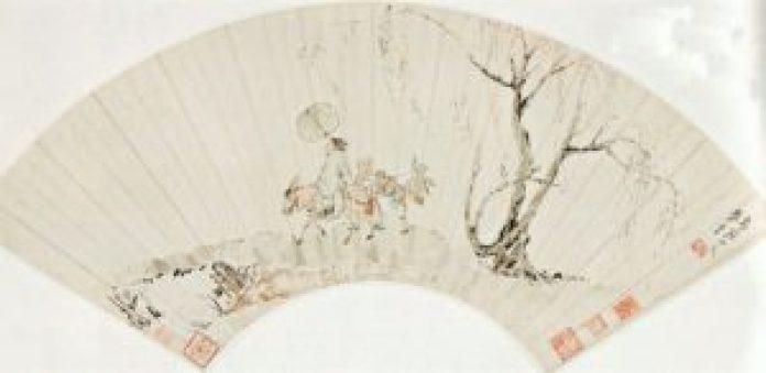 清.华喦 折扇面画。(公有领域)
