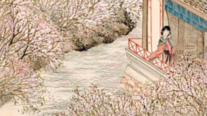 〔清〕任熊《春人出帘花在波》局部