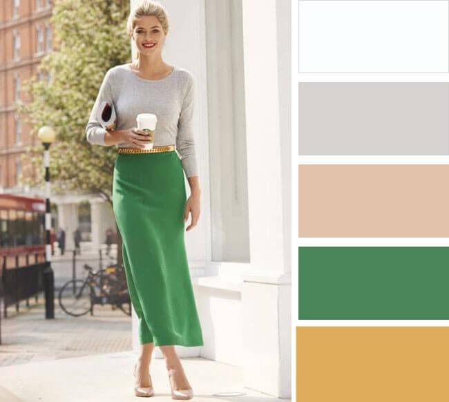 0a712f631c966 Táto kombinácia je symbolom zdržanlivosti a klasiky. Toto oblečenie zdobí  dámu na obchodnom stretnutí. Šedá farba sa dobre hodí k svetle zeleným, ...