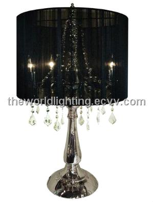 Ctl003 Chrome Metal Stand Black Fabric Cover Crystal Decoration Table Lamp