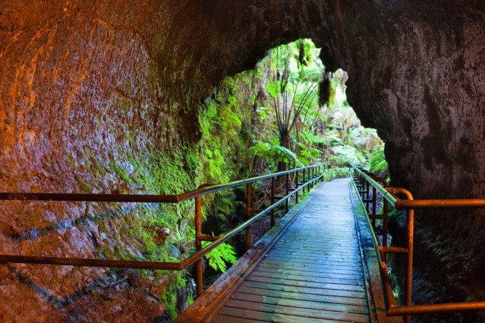 Entrance to the Thurston Lava Tube in Hawaii Volcanoes National Park.