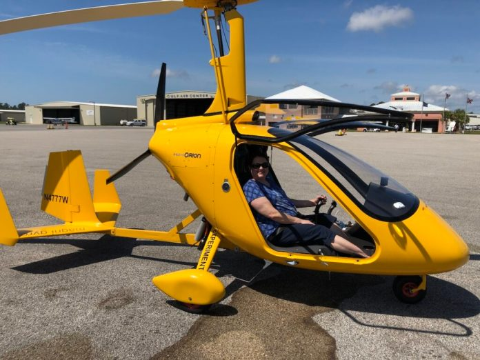 The writer in an autogyro.