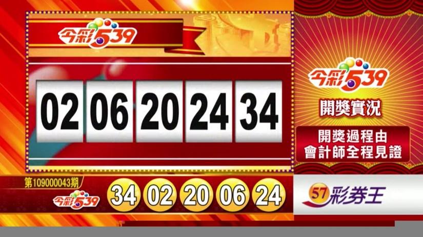 今彩539中獎號碼》第109000043期 民國109年2月19日